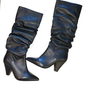 Saks Fifth Avenue Black Slouch Boots, Sz 8